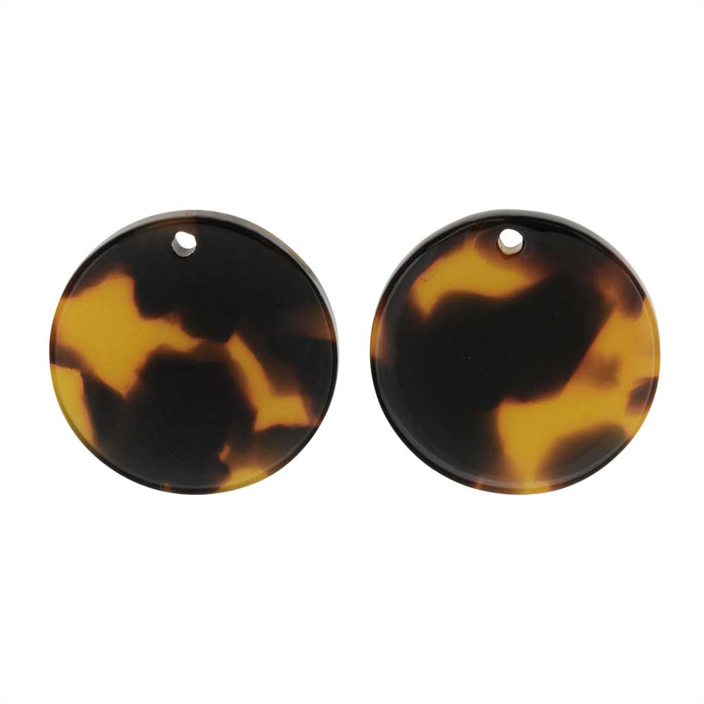 Zola Elements Acetate Pendant, Coin 20mm, 2 Pieces, Brown Tortoise Shell