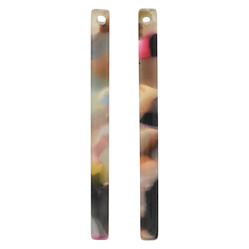 Zola Elements Acetate Pendant, Garden Party Bar Drop 3x38.5mm, 2 Pieces, Multi-Colored