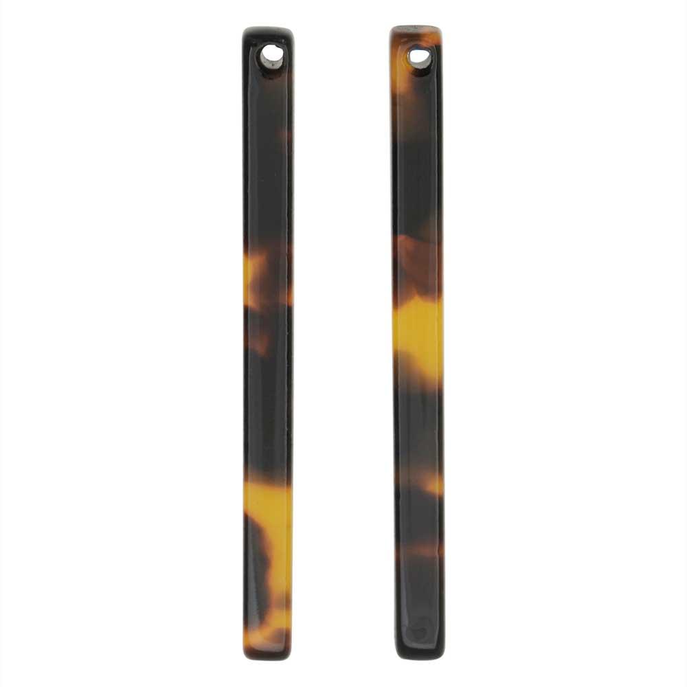 Zola Elements Acetate Pendant, Bar Drop 3x38.5mm, 2 Pieces, Brown Tortoise Shell