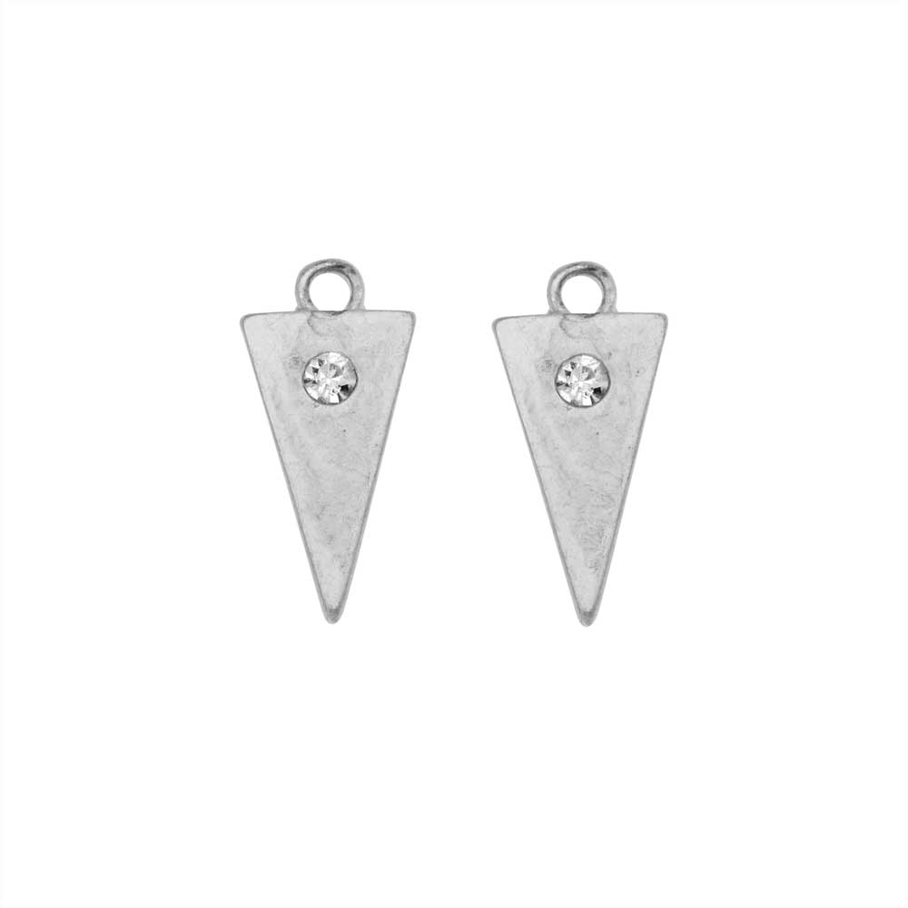 Zola Elements Charm, Inverted Triangle with Crystal 15.5x7.5mm, 2 Pieces, Antiqued Silver Tone
