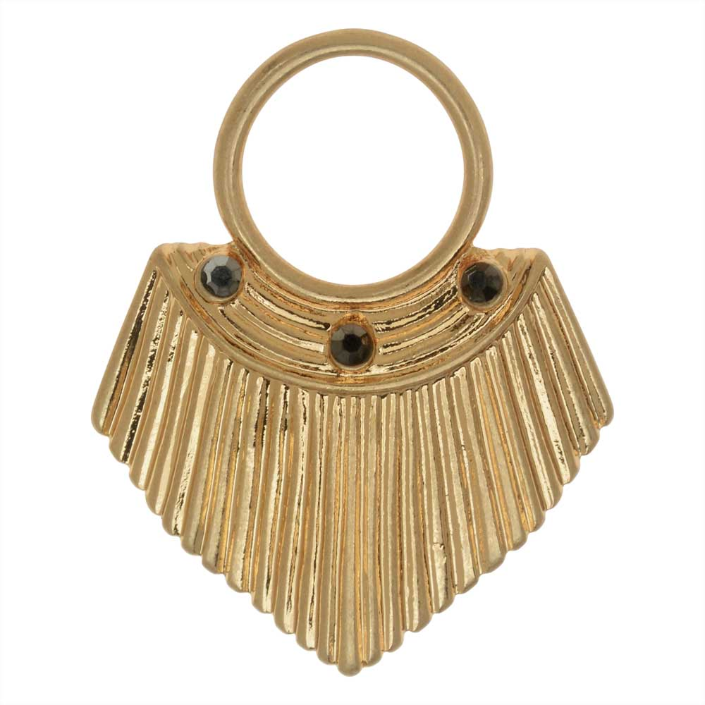 Final Sale - Zola Elements Pendant, Fluted Shield with Crystals 34x27.5mm, 1 Piece, Satin Gold Tone