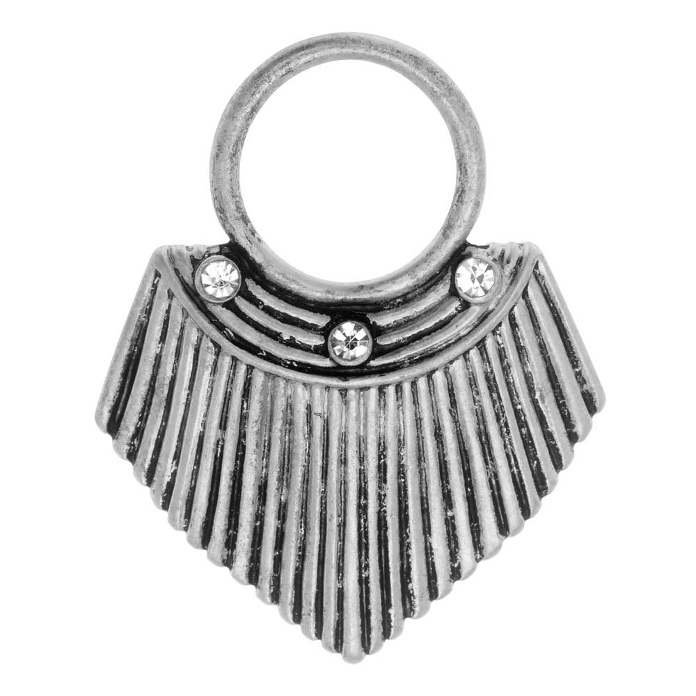 Final Sale - Zola Elements Pendant, Fluted Shield with Crystals 34x27.5mm, 1 Piece, Antiqued Silver Tone
