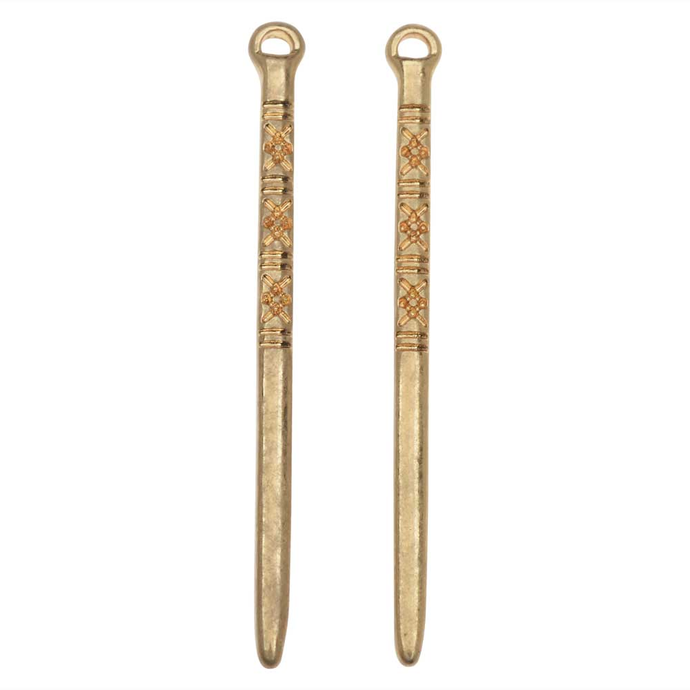 Zola Elements Pendant, Tufted Spike 2.2x41mm, 2 Pieces, Satin Gold Tone