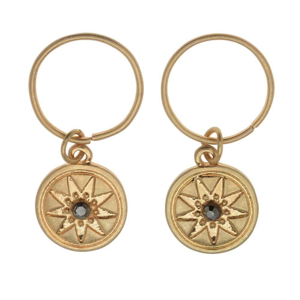 Zola Elements Charm, Starburst Compass with Crystal 14.5x12mm, 2 Pieces, Satin Gold Tone