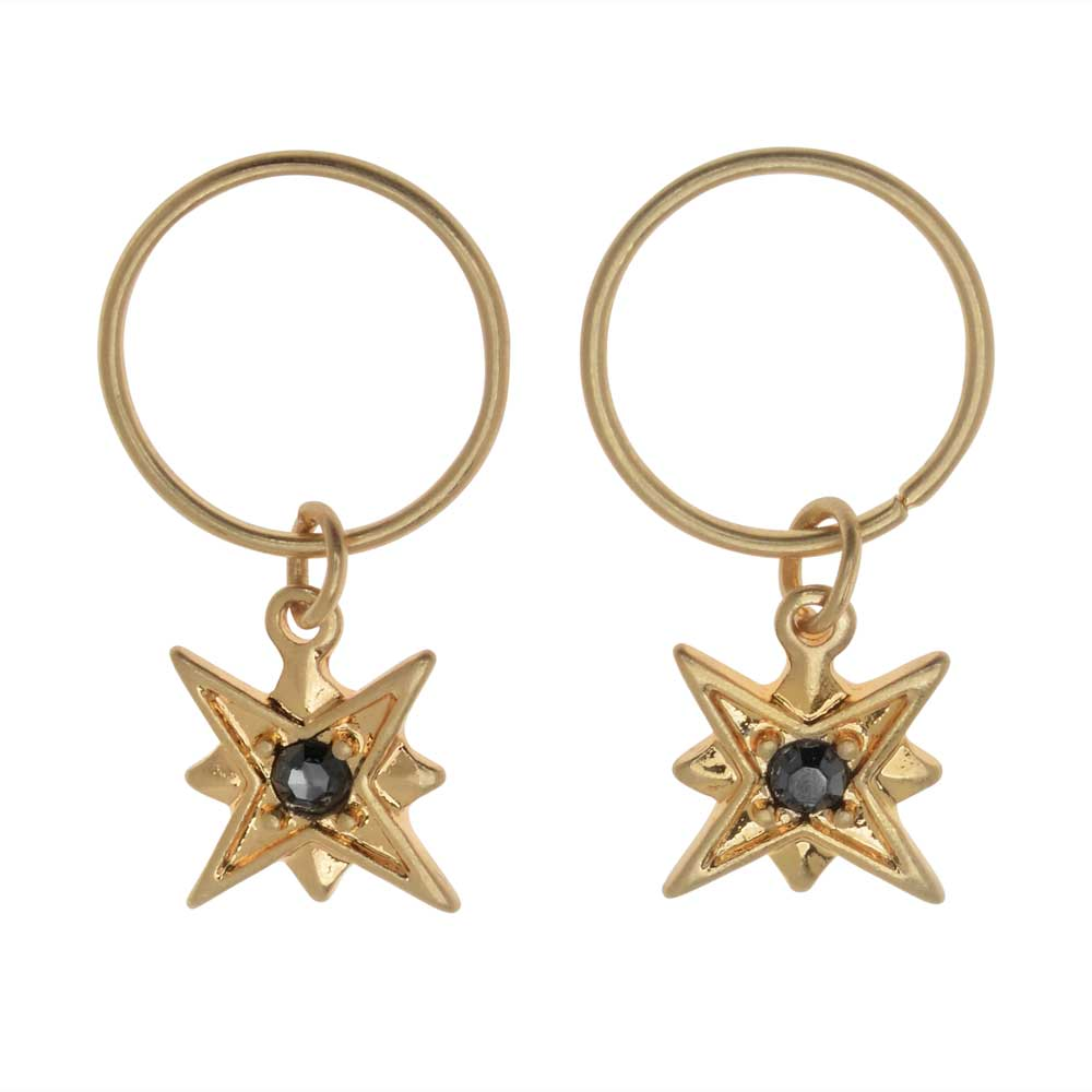 Zola Elements Charm, North Star with Crystal 12x10mm, 2 Pieces, Satin Gold Tone