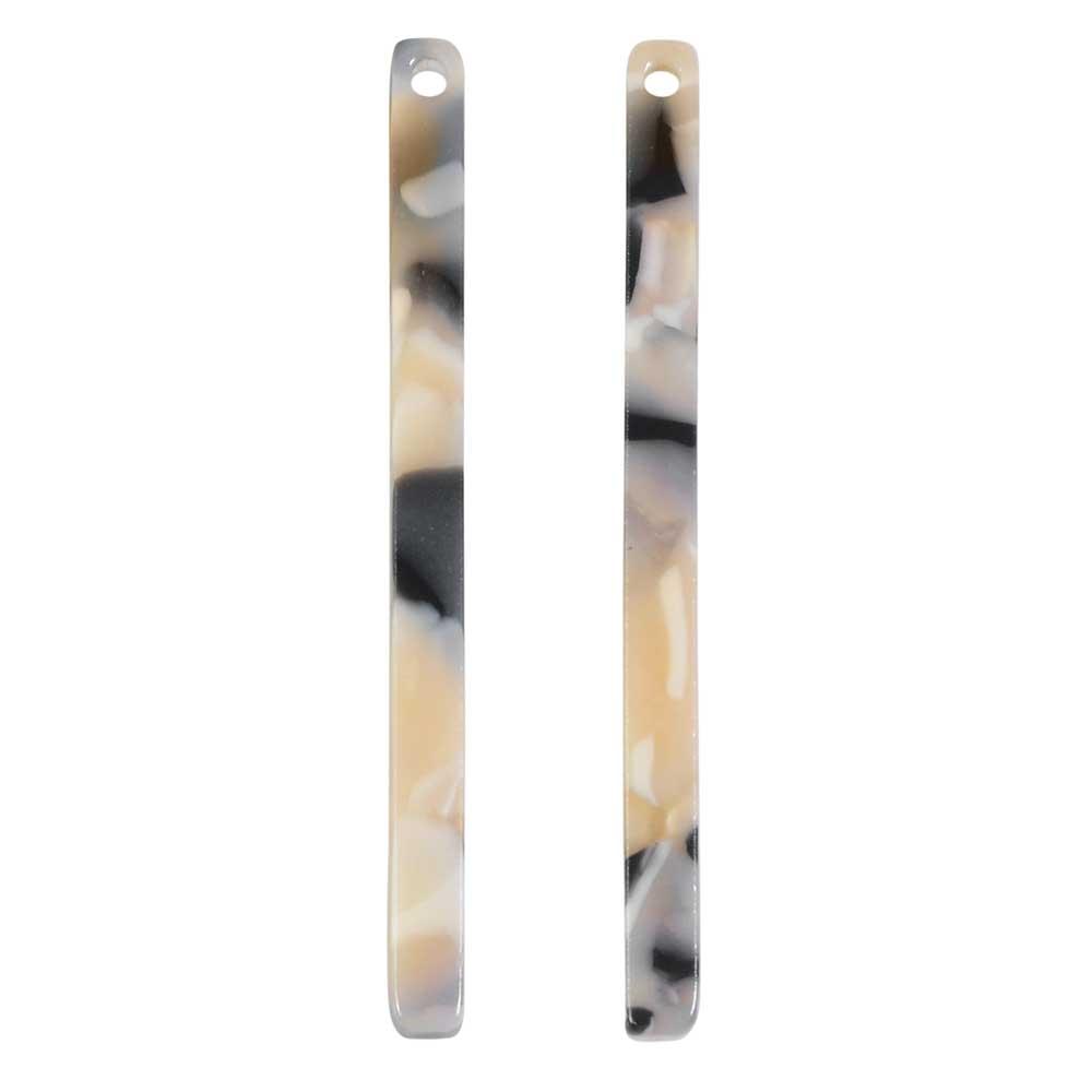 Zola Elements Acetate Pendant, Bar Drop 3x38.5mm, 2 Pieces, Black Pearl Multi-Colored