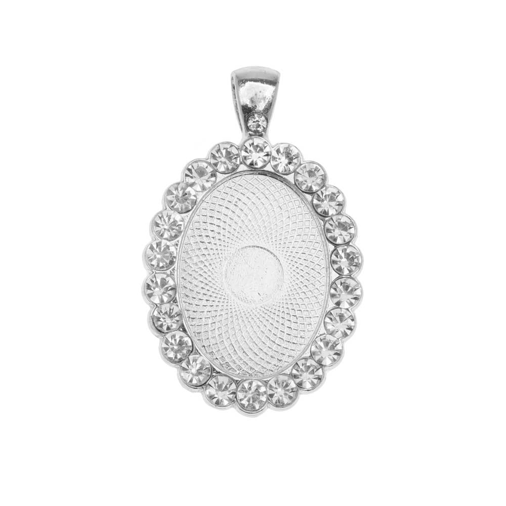 Bezel Pendant, Oval with Crystal Edge 25x18mm, 1 Piece, Silver Tone