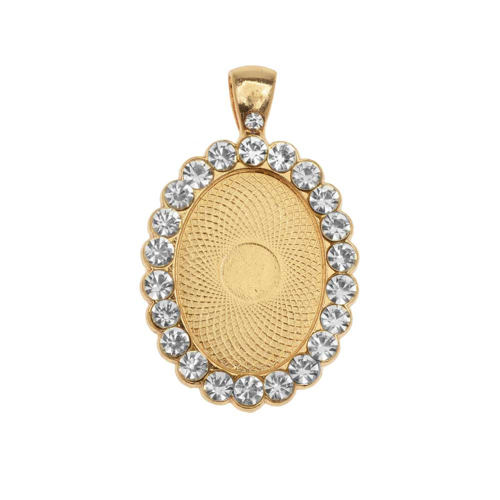 Bezel Pendant, Oval with Crystal Edge 25x18mm, 1 Piece, Gold Tone
