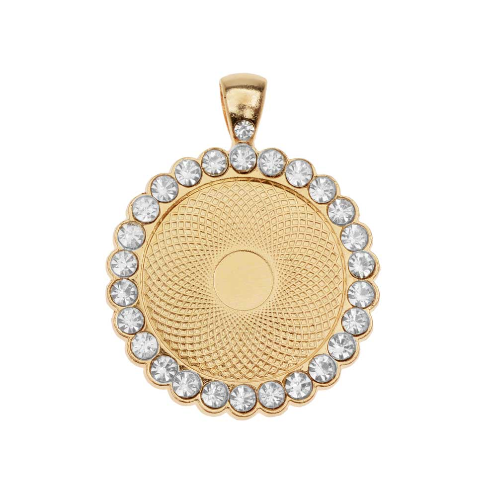 Bezel Pendant, Circle with Crystal Edge 25mm, 1 Piece, Gold Tone