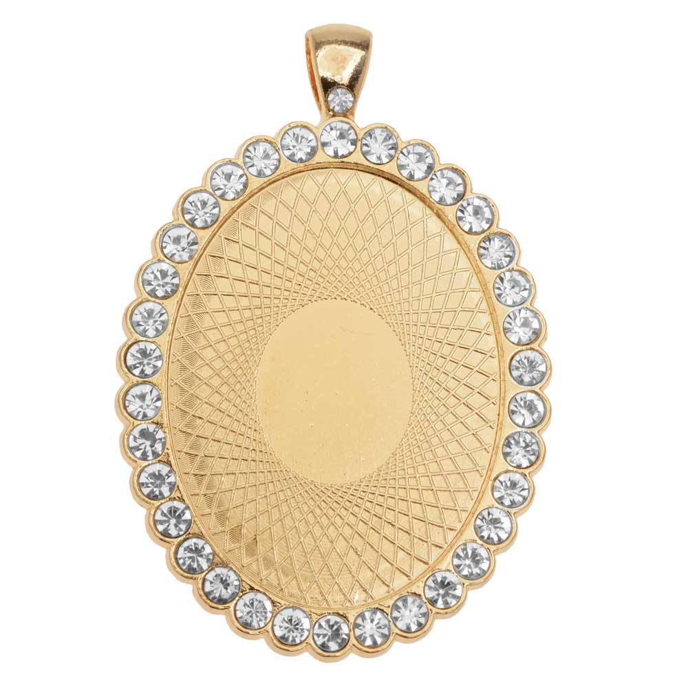 Bezel Pendant, Oval with Crystal Edge 40x30mm, 1 Piece, Gold Tone