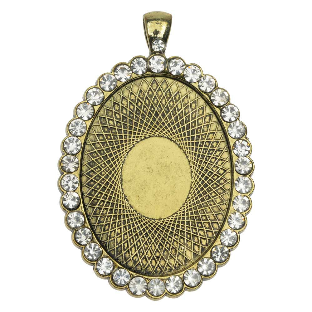 Bezel Pendant, Oval with Crystal Edge 40x30mm, 1 Piece, Antiqued Brass Tone