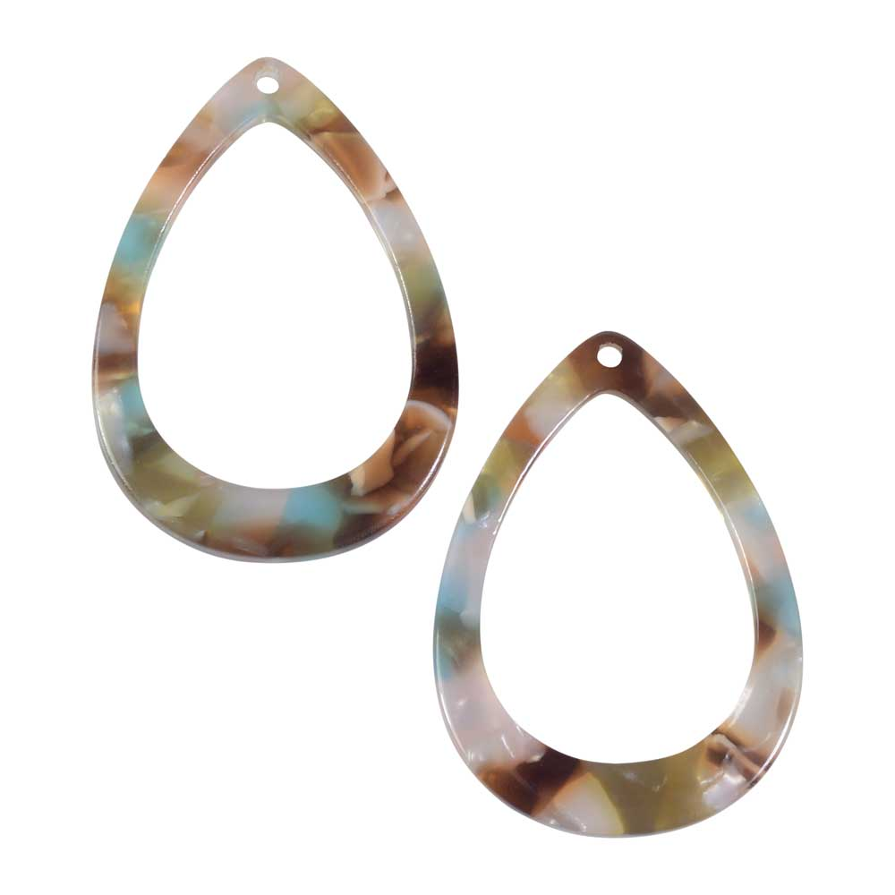 Zola Elements Acetate Pendant, Mermaid Open Drop 22x31mm, 2 Pieces, Multi-Colored