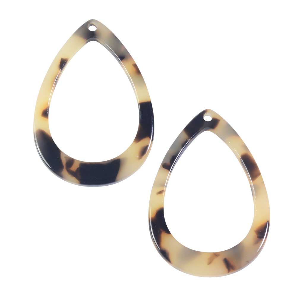 Zola Elements Acetate Pendant, Open Drop 22x31mm, 2 Pieces, Light Brown Tortoise Shell