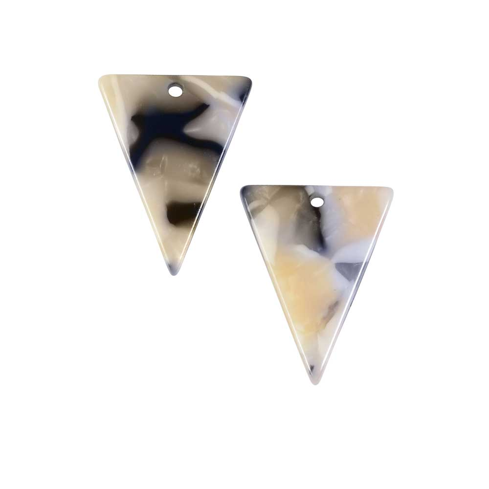 Zola Elements Acetate Pendant, Triangle 16x20mm, 2 Pieces, Black Pearl Multi-Colored