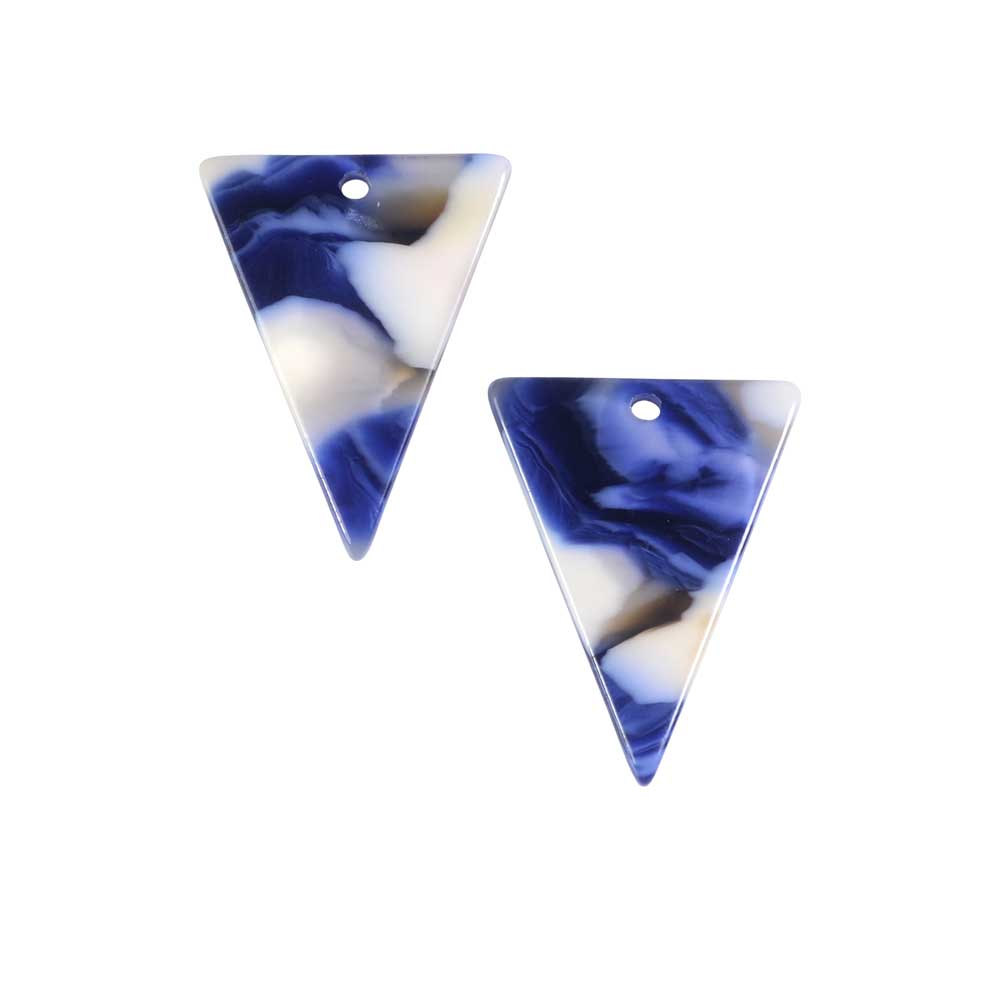 Zola Elements Acetate Pendant, Twilight Triangle 16x20mm, 2 Pieces, Blue Multi-Colored