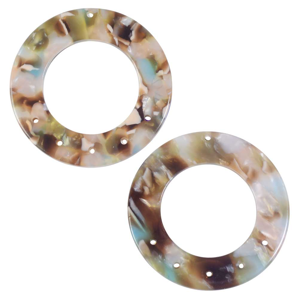 Zola Elements Acetate Pendant Link, Mermaid 5 to 1 Round Chandelier 38.5mm, 2 Pieces, Multi-Colored