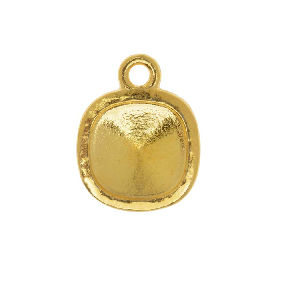 TierraCast Hammertone Bezel Pendant, Gold Plated, Fits Cushion Stone 10mm, 1 Piece