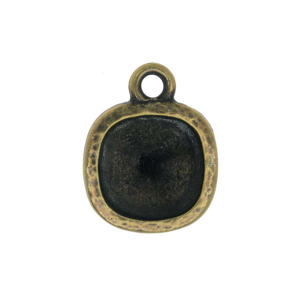 TierraCast Hammertone Bezel Pendant, Antiqued Brass, Fits Cushion Stone 10mm, 1 Piece
