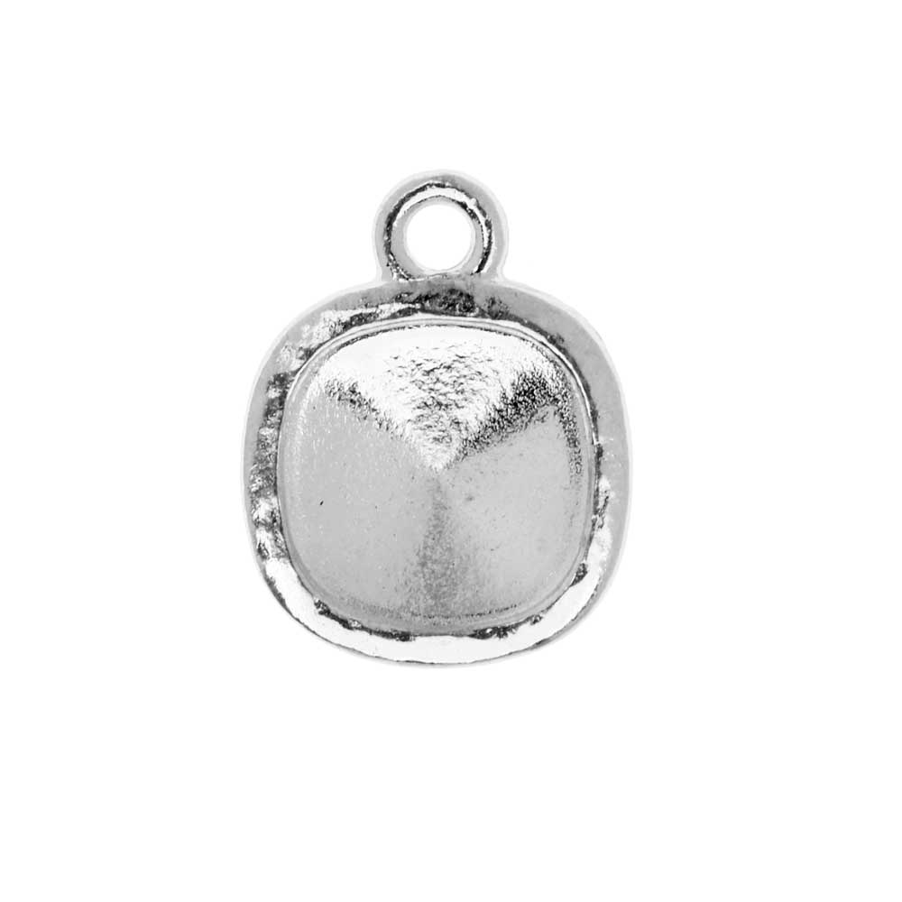 TierraCast Hammertone Bezel Pendant, Rhodium Plated, Fits Cushion Stone 10mm, 1 Piece