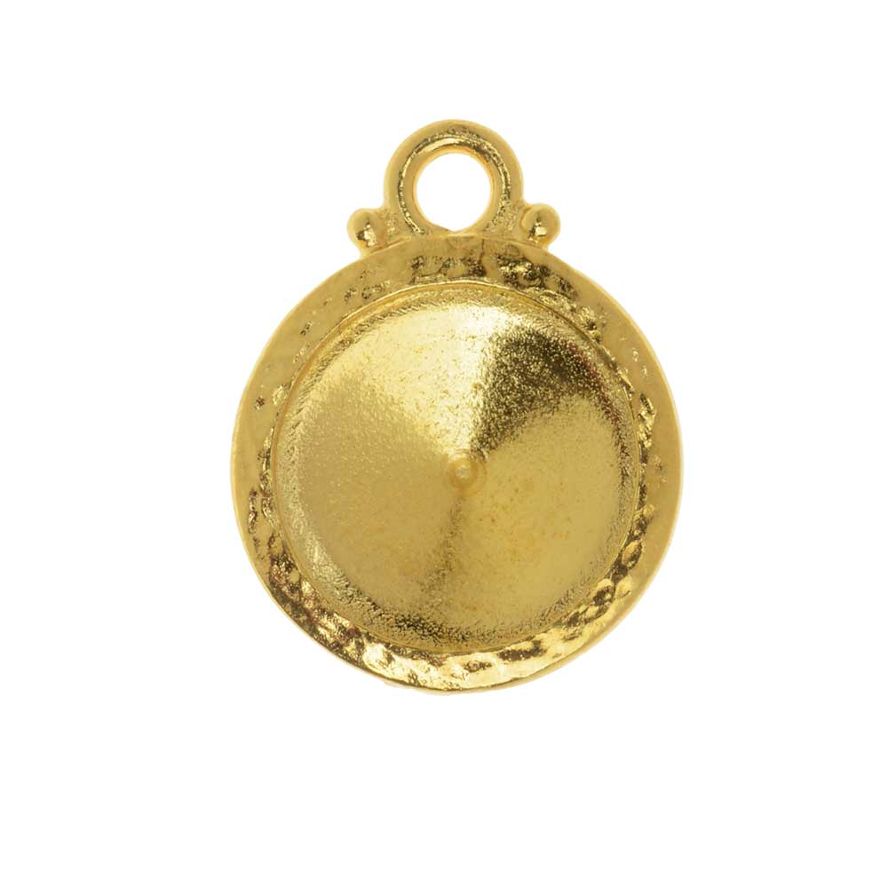 TierraCast Hammertone Bezel Pendant, Gold Plated, Fits Rivoli 12mm, 1 Piece