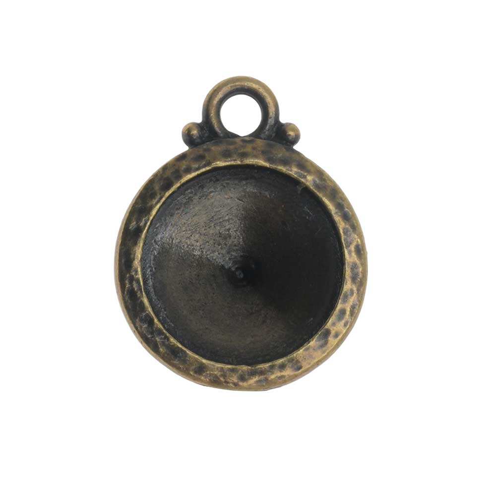 TierraCast Hammertone Bezel Pendant, Antiqued Brass, Fits Rivoli 12mm, 1 Piece