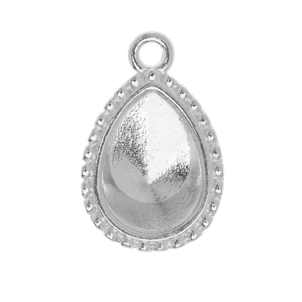 TierraCast Bezel Pendant, Fits #4320 Pear 14x10mm, 1 Piece, Rhodium Plated