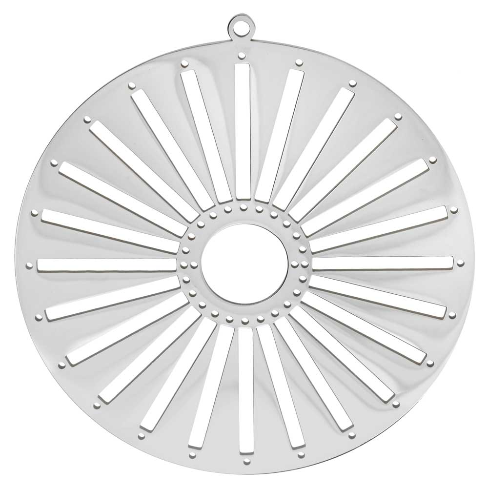 Centerline Beadable Pendant, Round Sun with Cutouts and Holes 62mm, 1 Piece, Rhodium Plated
