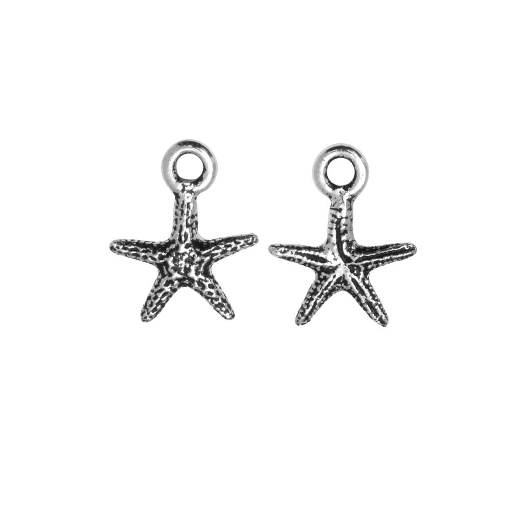 Pewter Charm, Starfish 13mm, Antiqued Silver Plated, 2 Pieces, By TierraCast
