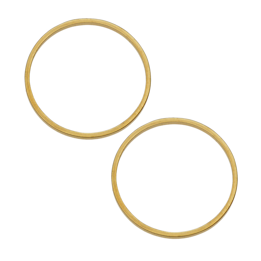Beadable Open Frame Link, Circle 19.5mm, 4 Pieces, Gold Tone Steel