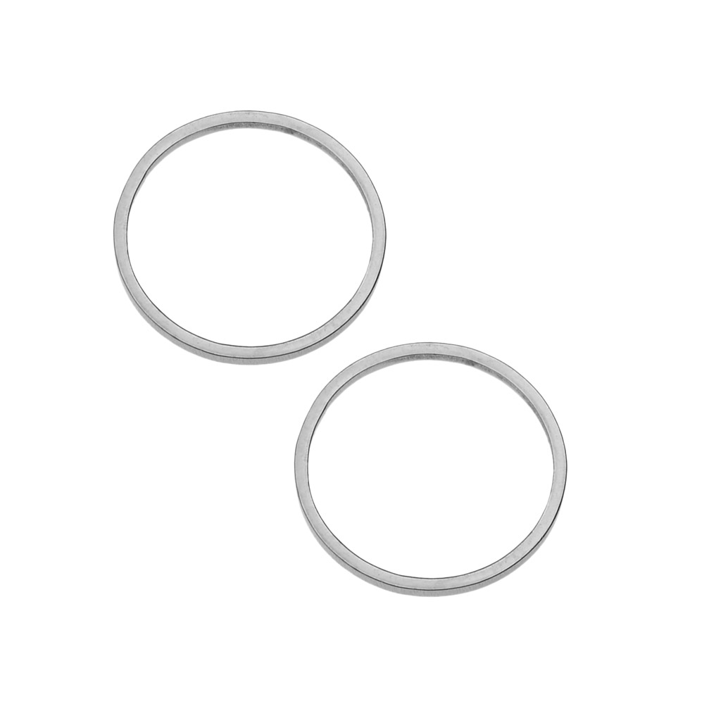 Beadable Open Frame Link, Circle 15.5mm, 4 Pieces, Stainless Steel