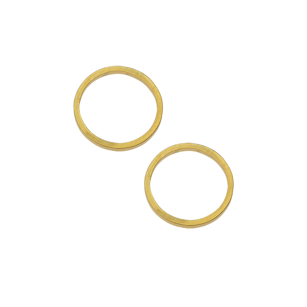 Beadable Open Frame Link, Circle 12mm, 4 Pieces, Gold Tone Steel