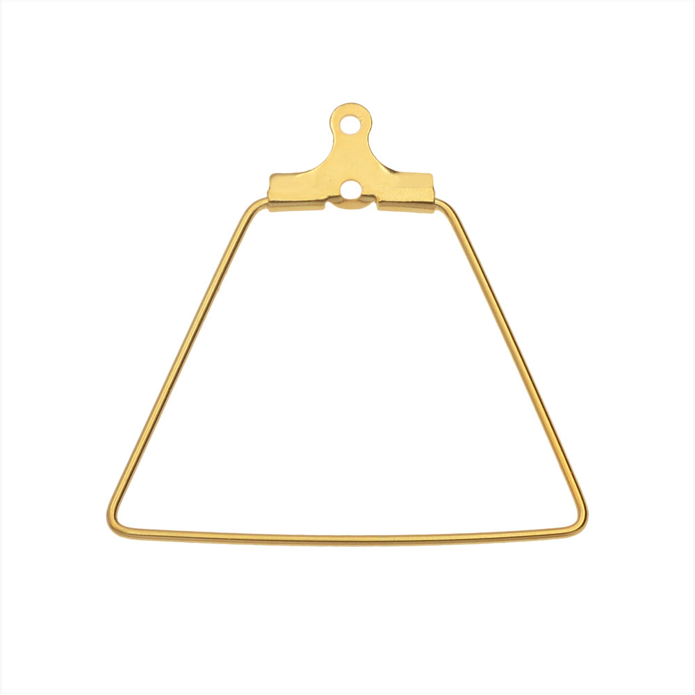 Beadable Open Wire Frame for Earrings or Pendants, Trapezoid 26x27.5mm, 4 Pieces, Gold Tone