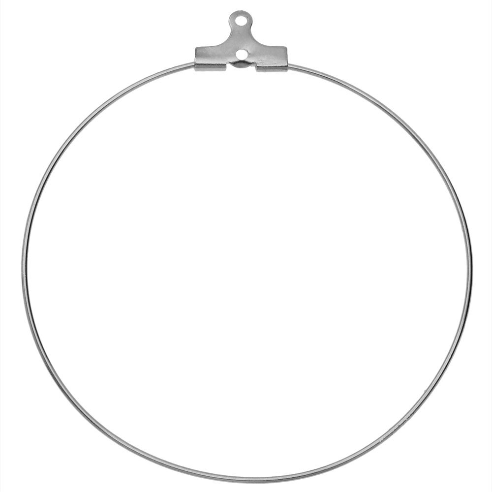 Beadable Open Wire Frame for Earrings or Pendants, Hoop 50mm, 4 Pieces, Stainless Steel