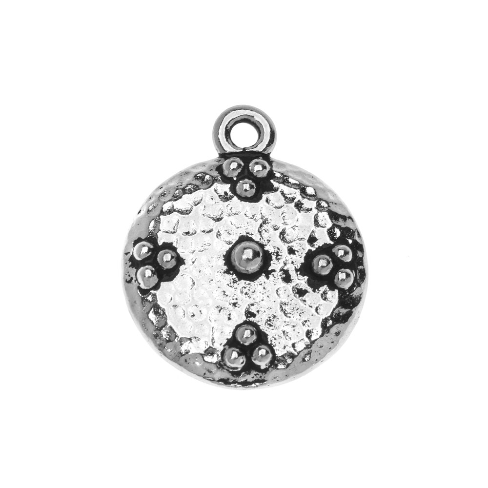 Metal Charm, Round Opulence 19mm, 1 Piece, Antiqued Silver Plated, By TierraCast