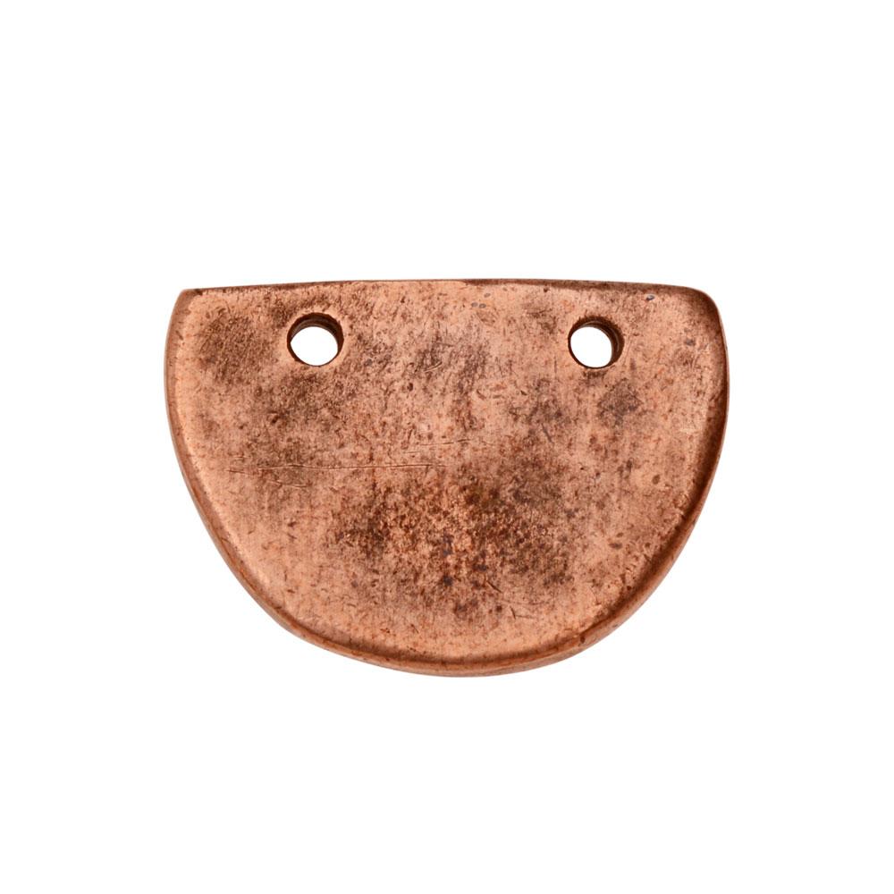 Primitive Flat Tag Pendant, Half Oval 21x15mm, 1 Piece, Antiqued Copper, by Nunn Design