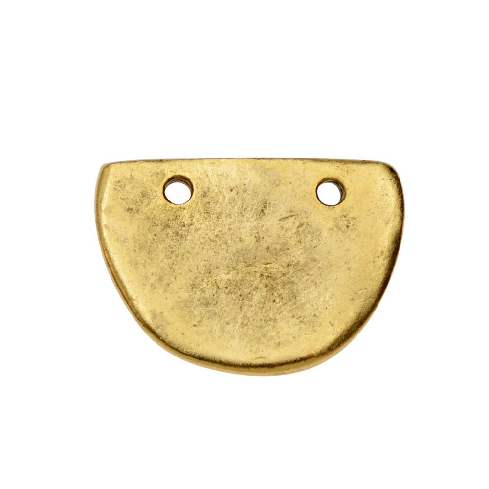 Primitive Flat Tag Pendant, Half Oval 21x15mm, 1 Piece, Antiqued Gold, by Nunn Design