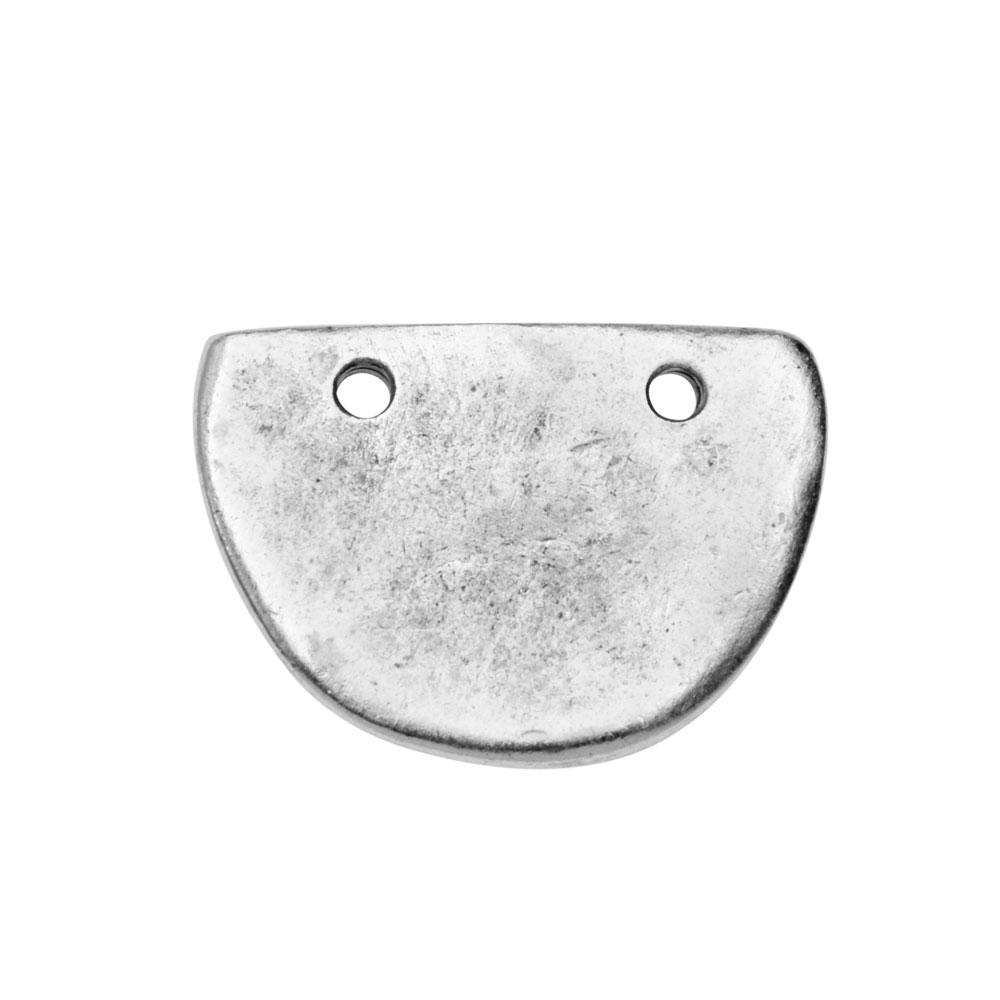 Primitive Flat Tag Pendant, Half Oval 21x15mm, 1 Piece, Antiqued Silver, by Nunn Design