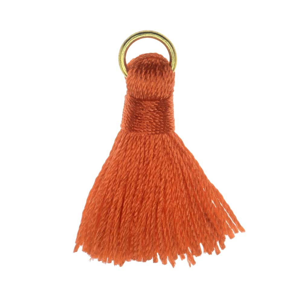 Final Sale - Nylon Cord Pendant, Tassel with Gold Tone Open Jump Ring 30mm, 10 Pieces, Dark Orange