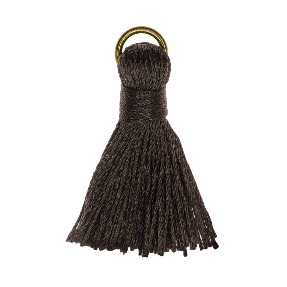 Nylon Cord Pendant, Tassel with Gold Tone Open Jump Ring 30mm, 10 Pieces, Dark Black Brown