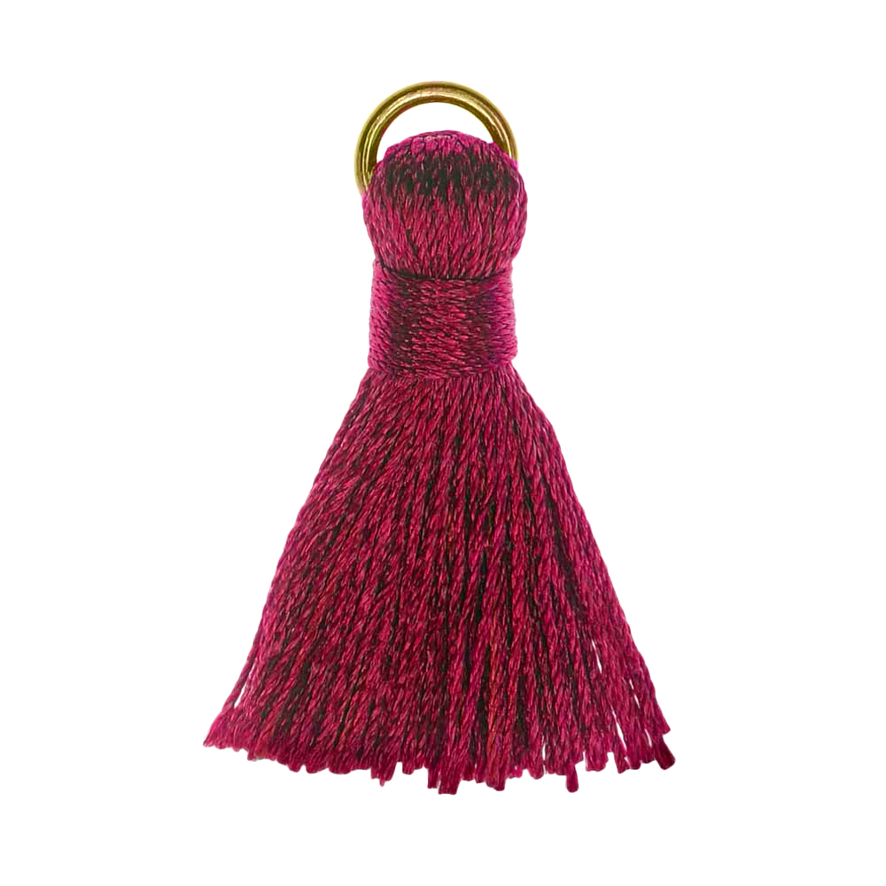 Final Sale - Nylon Cord Pendant, Tassel with Gold Tone Open Jump Ring 30mm, 10 Pieces, Dark Raspberry Red