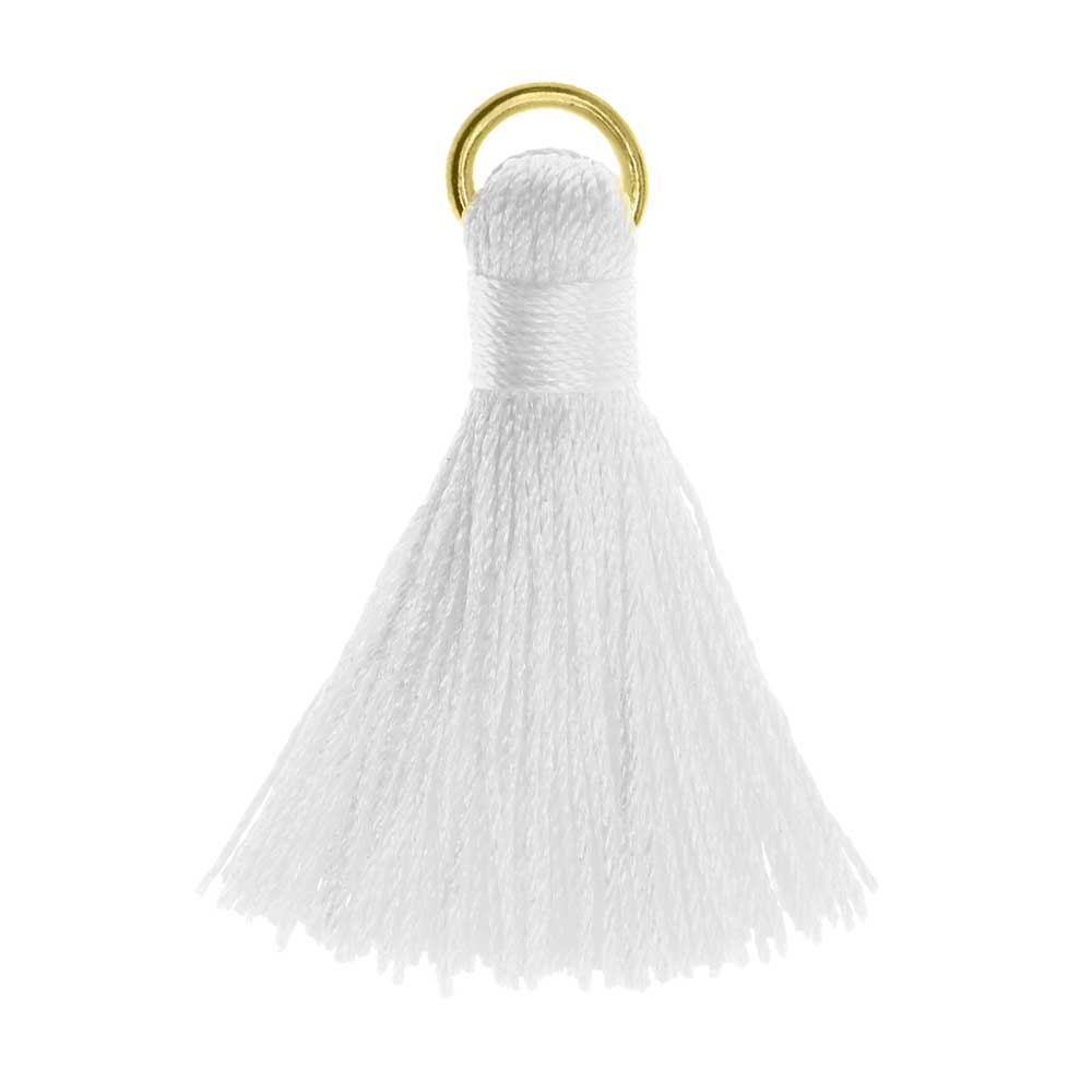 Nylon Cord Pendant, Tassel with Gold Tone Open Jump Ring 30mm, 10 Pieces, White