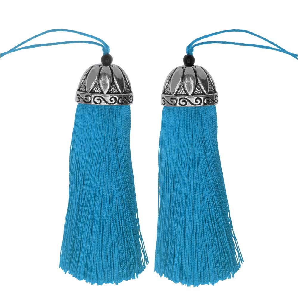 Zola Elements Tassel with Decorative Bell Cap 80mm, 2 Pieces, Antiqued Silver and Capri Blue