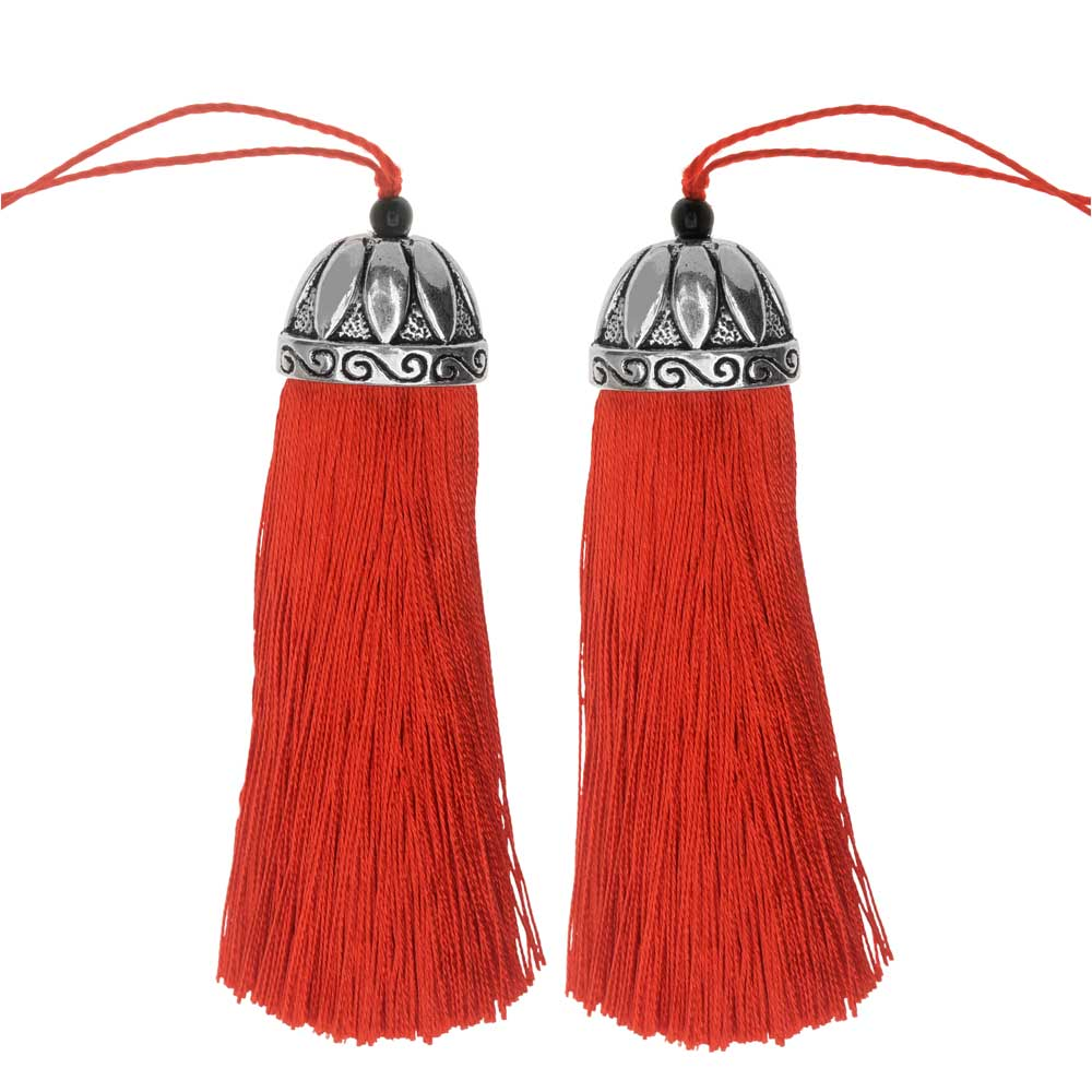 Zola Elements Tassel with Decorative Bell Cap 80mm, 2 Pieces, Aniqued Silver and Crimson Red