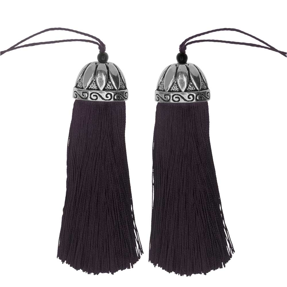 Zola Elements Tassel with Decorative Bell Cap 80mm, 2 Pieces, Antiqued Silver and Purple