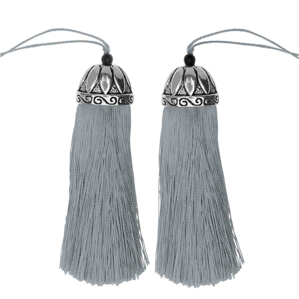 Zola Elements Tassel with Decorative Bell Cap 80mm, 2 Pieces, Antiqued Silver and Grey