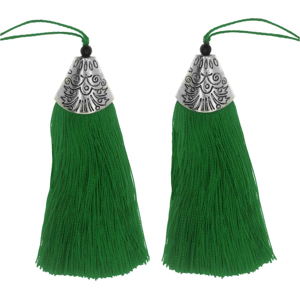 Zola Elements Tassel with Decorative End Cap 80mm, 2 Pieces, Antiqued Silver and Green