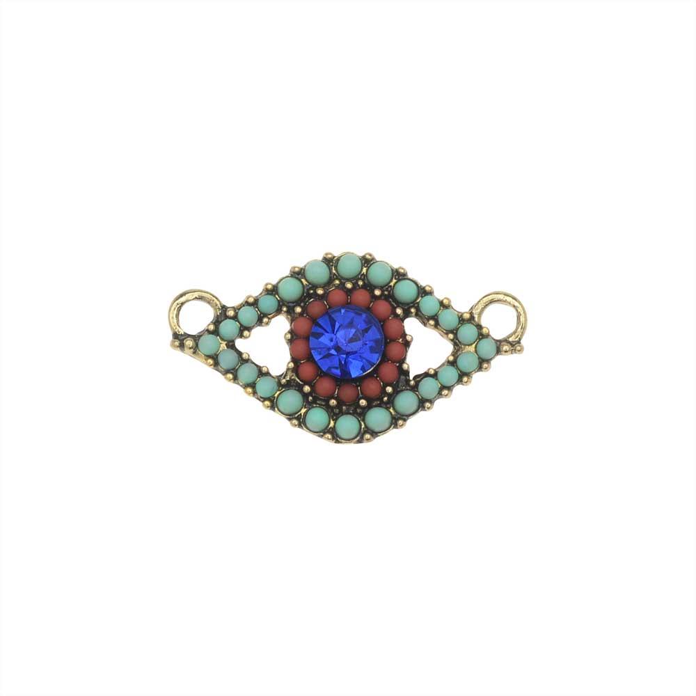 Zola Elements Pendant Link, Mermaid Eye 26x14mm, 1 Piece, Antiqued Gold Tone