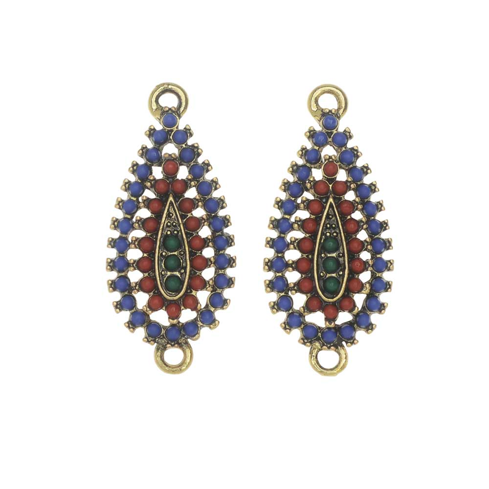Zola Elements Link, Summer Picnic Teardrop 13x30mm, 2 Pieces, Antiqued Gold Tone
