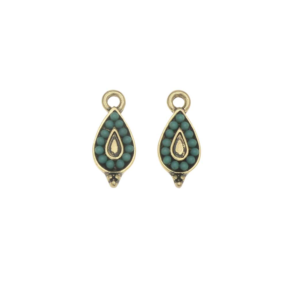 Zola Elements Charm, Beaded Teardrop 7x15mm, 2 Pieces, Antiqued Gold Toned/Turquoise