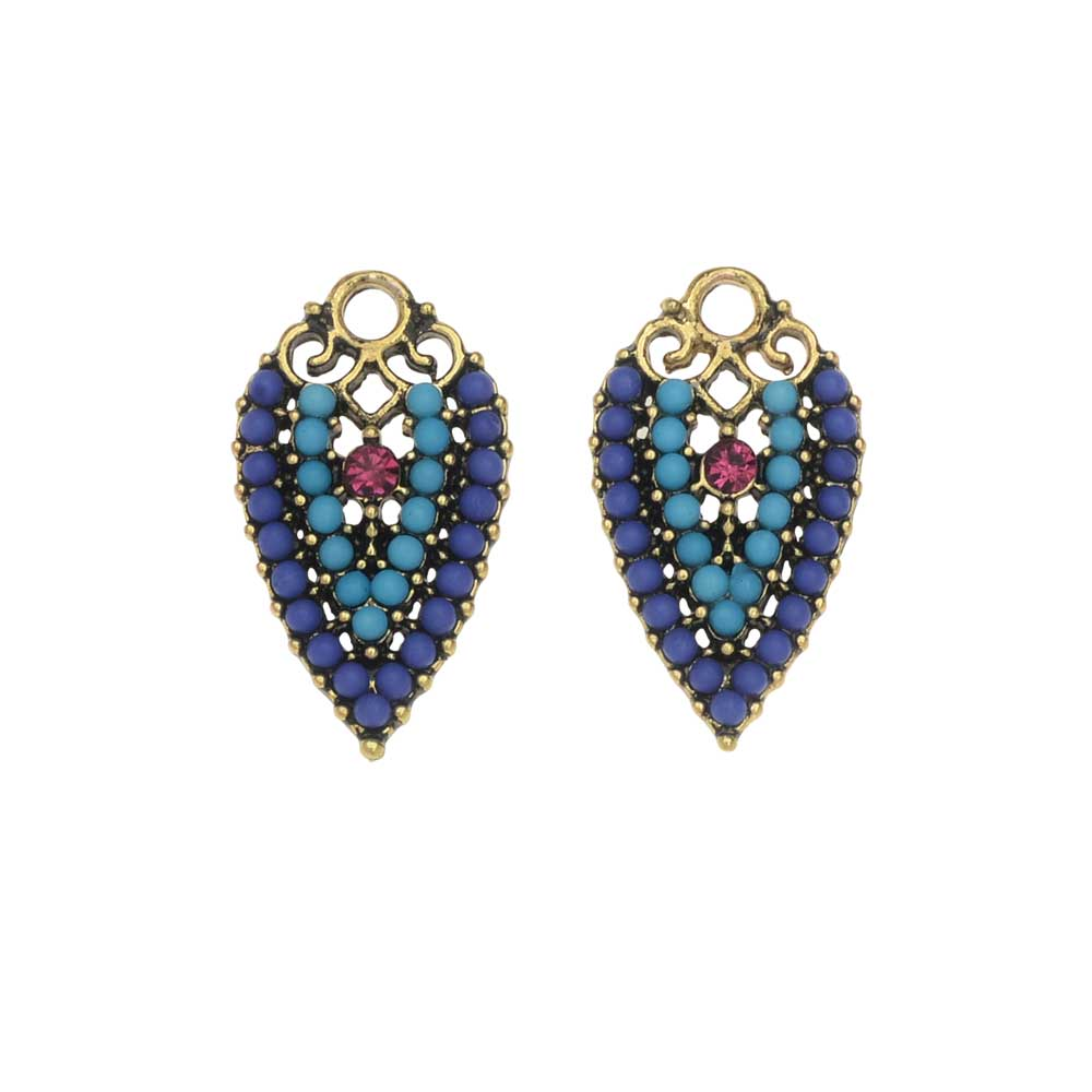 Zola Elements Charm, Pool Party Inverted Drop 12x21mm, 2 Pieces, Antiqued Gold Tone